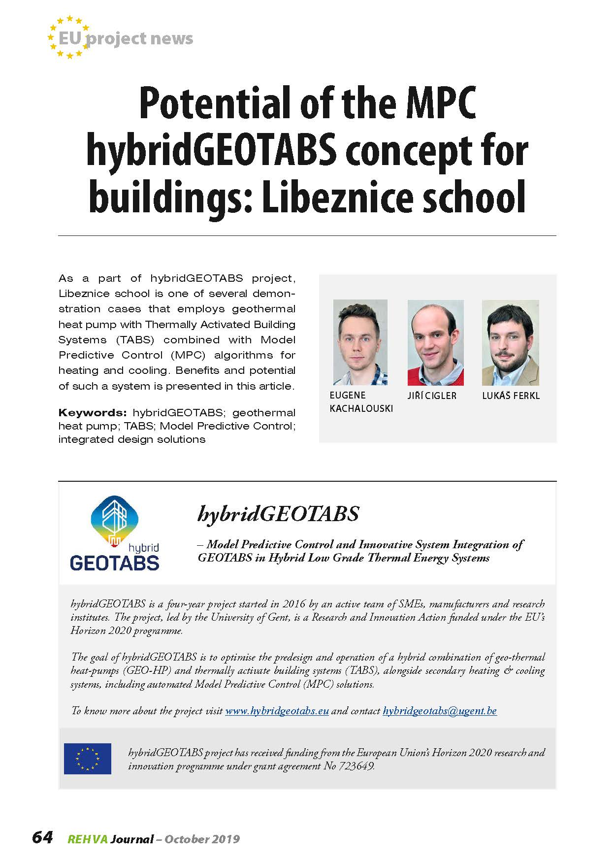 Potential of the MPC hybridGEOTABS concept for buildings