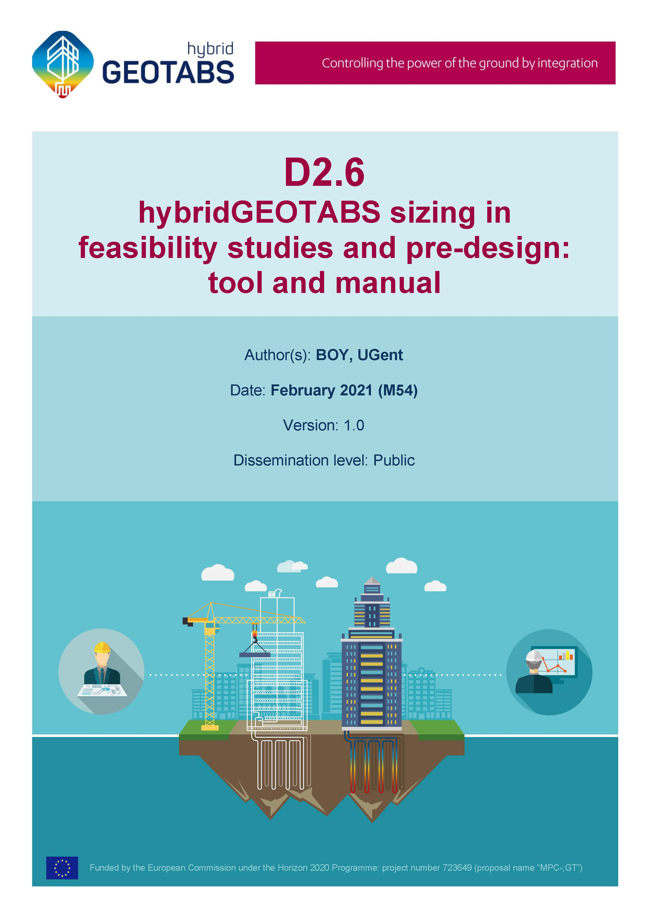 D2.6 hybridGEOTABS sizing in feasibility studies and pre-design: tool and manual