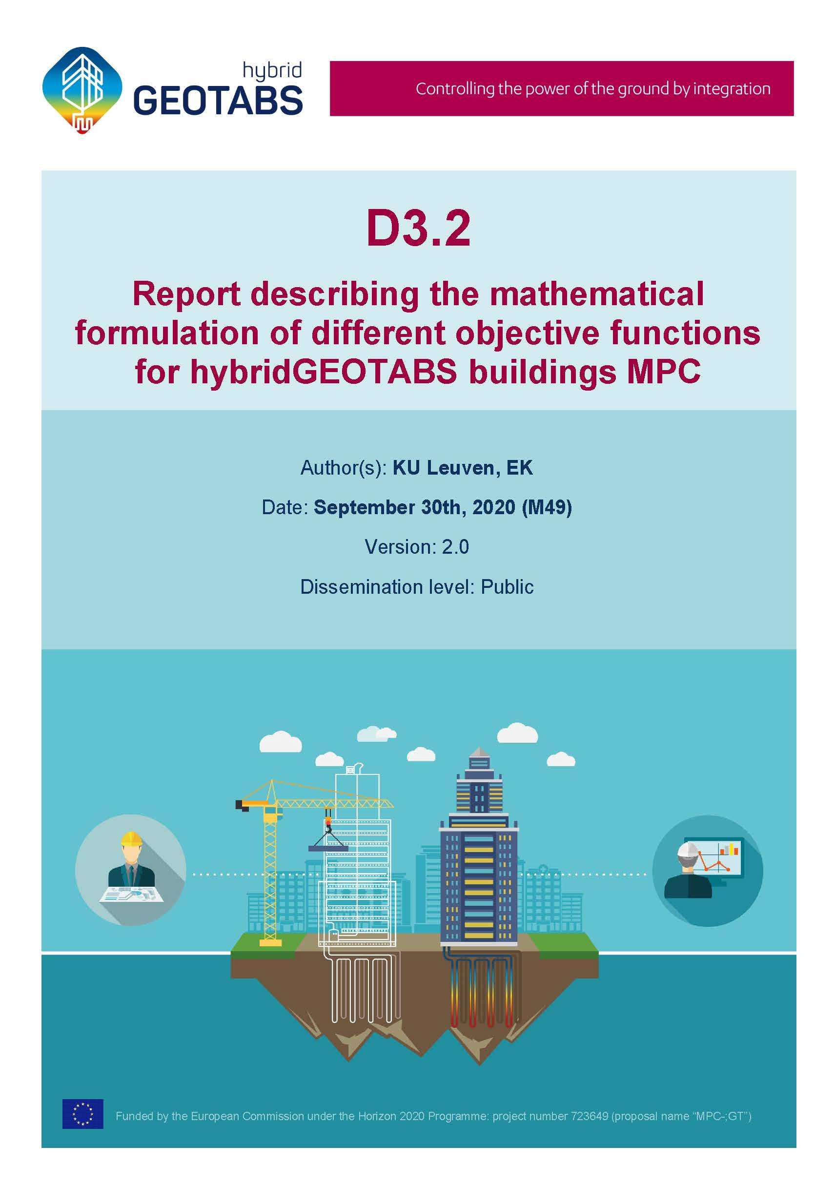D3.2 Report describing the mathematical formulation of different objective functions for hybridGEOTABS buildings MPC